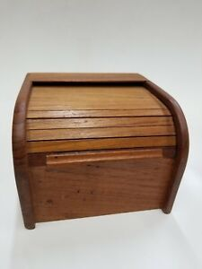 Wood Vintage Rolodex Card Holder With Sliding Door