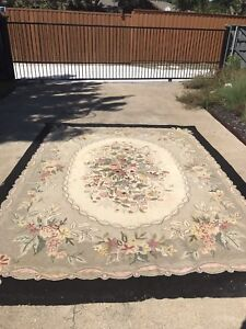Large Vintage Multi Color Floral Hooked Wool Rug Black Edge With Multi Colors