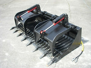 Bobcat Skid Steer Attachment 78 Rock Bucket Grapple With Teeth Ship 149