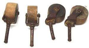 4 Small Antique Wood Wheel Furniture Casters Rollers