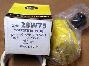 Woodhead 28w75 Safety Yellow Oil proof Watertite 30a 250v L15 30p Plug Jt