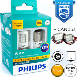 Py21w 1156 Led Philips Ultinon Amber Turn Signal Yellow Light Bulbs Canbus 12v