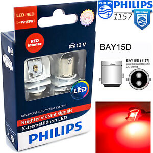 Philips P21 5w Led Xtreme Vision Red Brake Tail Signal Light Bay15d 2 Pin 1157