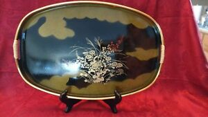 Vintage Toyo Japanese Black And Gold Lacquered Lacquerware Tray Oval 16 5 X 11