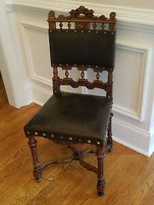 French Renaissance Carved Leather Chairs 1890 S Antique Reproductions Set Of 8