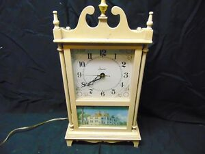 Vintage Imperial Electric Clock Old Country House Picture White Wooden Frame 21