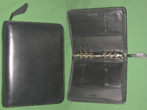 Compact 1 0 Black Leather Franklin Covey Quest Planner Binder Vintage 2082