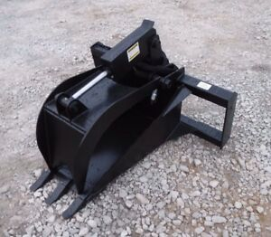 Bobcat Skid Steer Attachment Heavy Duty Stump Tooth Bucket Grapple Ship 149