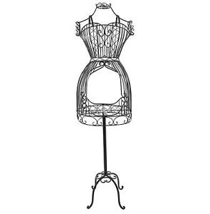 Vintage Designers Black Metal Scrollwork Wire Dress Form Display Rack Mannequin