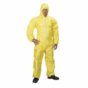 Dupont Tychem Qc125tyl4x000400 Chemical Resistant Coverall Yellow Size 4x Qty 4