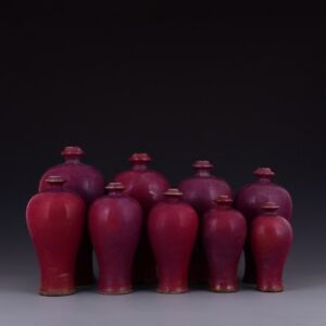 Chinese Old Marked One Set 9 Pcs Jun Kiln Rose Red Glaze Porcelain Meiping Vase