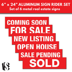 Visibility Signage Experts Real Estate Sign Riders Set Of 6 Aluminum Signs