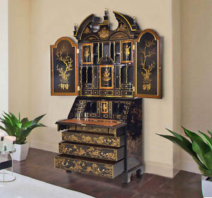 Chinese Chippendale Black Chinoiserie Decorated Secratery Desk Bookcase New