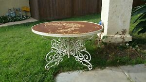Vintage Cast Iron Ornate Patio Entry Garden Table Shabby Chic Authentic 85 Lbs