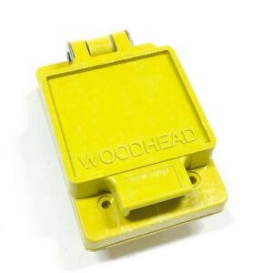 60w47 Woodhead Outlet Box Cover 1 gang Yellow