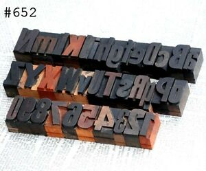 A z 0 9 Alphabet Number Letterpress Wood Printing Blocks Wooden Type Printer