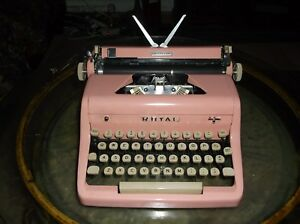 Antique Authentic 1950s Bubblegum Pink Royal Manual Portable Typewriter