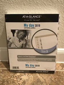 At a glance 2019 Planner Refill 1 Page Per Day Daily Size 5 Original White 491 1