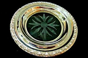 Vintage Sterling Silver Etched Crystal Candy Dish Amston Silver Co 1940
