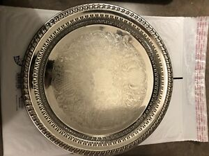 Leonard Ep Filigree Etched Silver Plated 12 Serving Tray Made In Italy