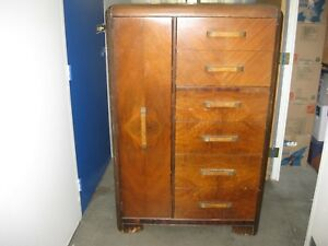 Antique Art Deco Style Waterfall Dresser With Cedar Lined Wardrobe Armoire