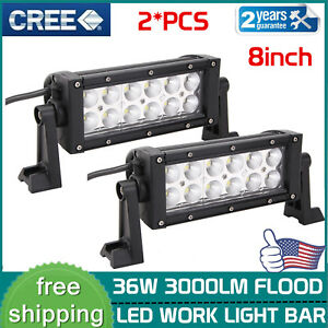 2x 8inch 36w Cree Flood Led Work Light Bar Driving Offroad Ute Atv Driving Lamp