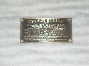 Vtg Stover Hit Miss Engine Type K 1 1 2 Hp Brass Id Tag
