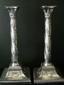 2 English Sheffield Silver On Copper Corinthian Column Candle Stick Holders