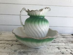 Antique Vintage Green White Victorian Porcelain Water Pitcher Basin Bowl Set