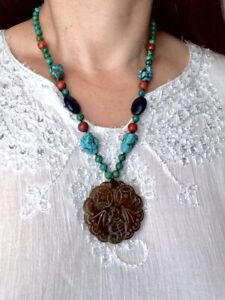 Chinese Oriental Carved Jade Coin Pendant Turquoise Lapis Jasper Knot Necklace