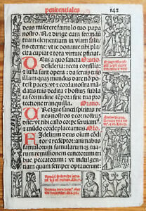 Decorative Leaf Book Of Hours Woodcut Border Venice Stagnini 142 1518