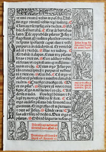 Decorative Leaf Book Of Hours Woodcut Border Venice Stagnini 11 1518
