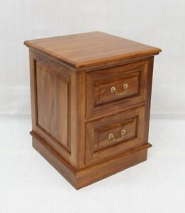 Solid Mahogany Wood 2 Drawer File Cabinet Light Brown Walnut