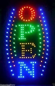 Large Vertical Animated Business Led Open Sign W Motion On off Switch 21 X 13