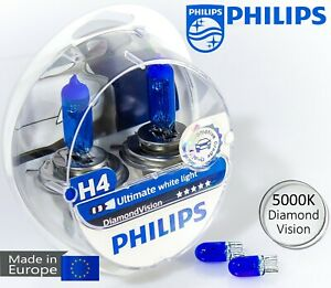 Philips H4 Diamond Vision 5000 K White Car Headlight Bulbs 12v 60 55w W5w Blue