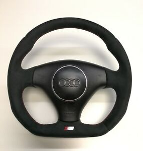 Flat Bottom Steering Wheel A3 A4 A6 A8 Tt Allroad Alcantara S line Badge
