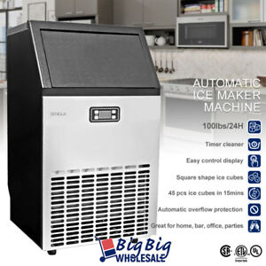 Lcd Commercial Ice Maker Machine Stainless Steel 45pcs 15 Mins 100lbs Per Day