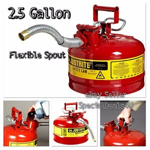 Steel Jerry Gas Can Safety Red 2 5 Gallon Metal Gasoline Diesel Flexible Type Ii