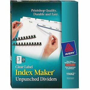 Avery 11442 Index Maker Laser Unpunched 3 tab White Ave11442