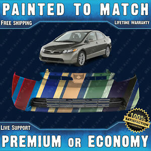 New Painted To Match Front Bumper For 2006 2007 2008 Honda Civic Sedan 06 08