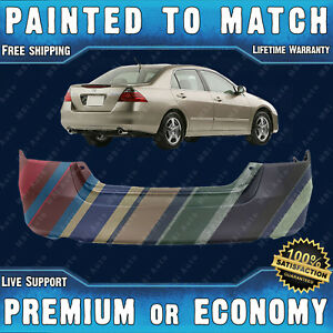 New Painted To Match Rear Bumper Cover Exact Fit For 2006 2007 Honda Accord