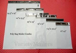 35 Poly Bag Mailer Variety Pack 6 Small To Large Sizes Plastic Shipping Bags