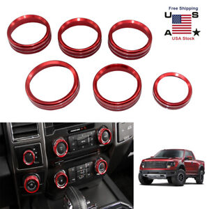 6 Red Air Conditioner Audio Switch Decor Ring Cover Trim For Ford F150 2015 2018
