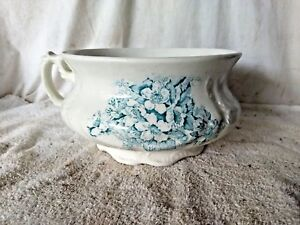 Antique 1800s Yale Pottery Floral Design Chamber Pot