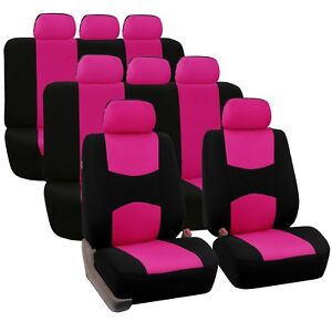 Pink 3 Row Flat Cloth Car Seat Covers 2 Bucket Covers 2 Solid Bench Cov