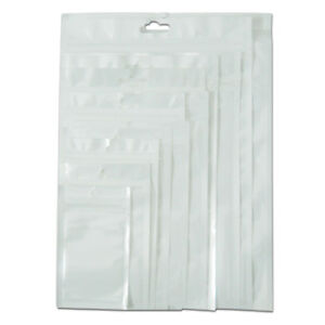 White Front Clear Zip Lock Bags Food Packaging Pouch Flat Plastic Hang Hole Pack