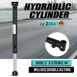 Hydraulic Cylinder Welded Double Acting 3 Bore 14 For Log Splitter New