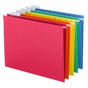 Smead Hanging File Folders 1 5 cut Tab Letter Size Assorted Primary Colors