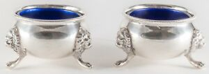Pair Antique Sterling Silver Open Salts With Cobalt Glass Liners