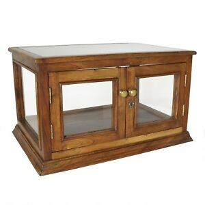 Vintage Store Display Cabinet Rectangle Locks Solid Wood Glass Case New